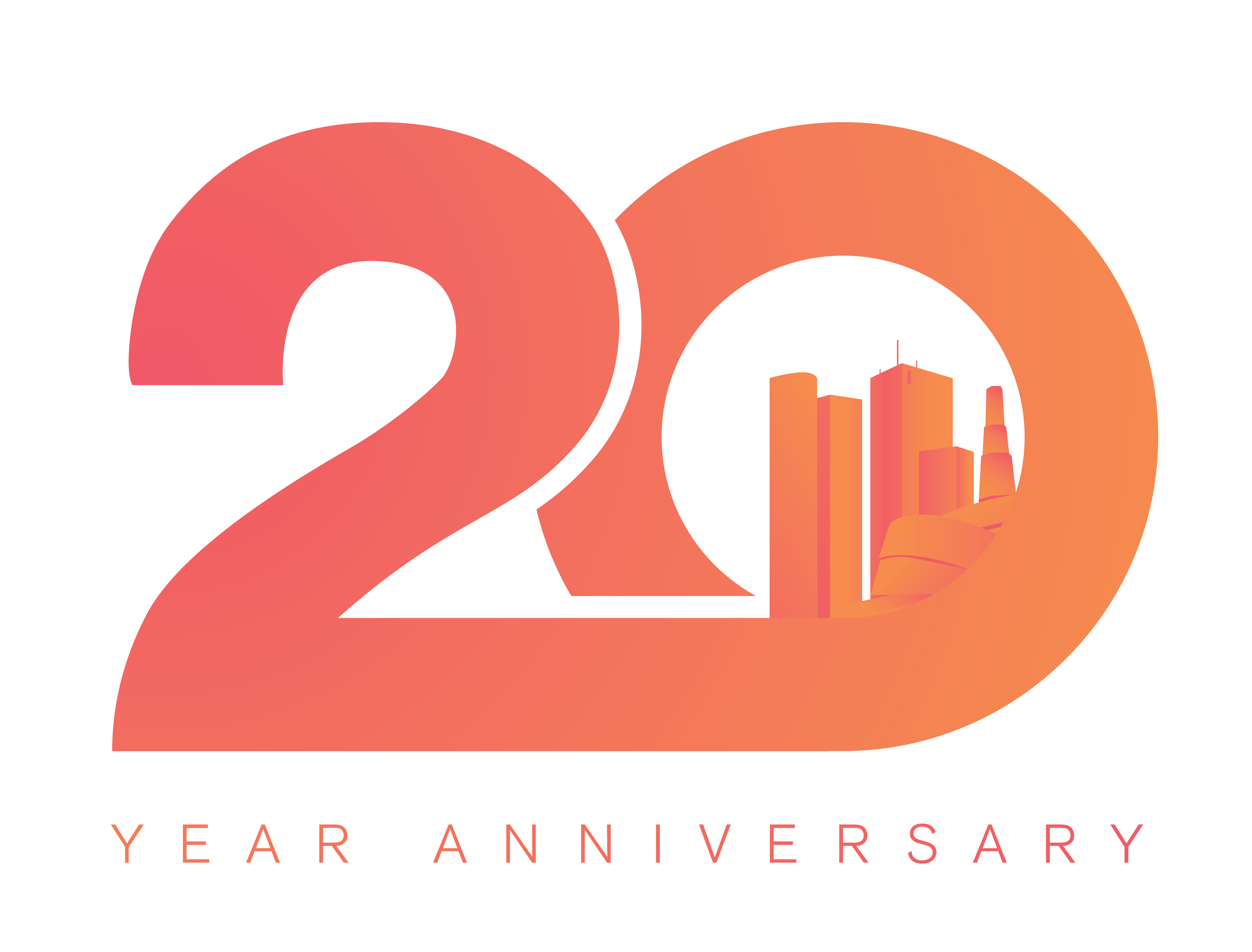 """Payworks 20th anniversary logo; a large 20 with """"year anniversary"""" written underneath. Winnipeg's skyline is inside the number 0."""