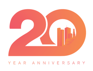 Payworks 20th Anniversary logo; a large number 20 with Winnipeg's skyline in the middle of the zero. Under the large number is Year Anniversary written in small text.