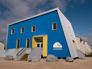 Polar Bears International building; a blue building with a grey roof and a bright yellow door. The building is square with a slanted right side.
