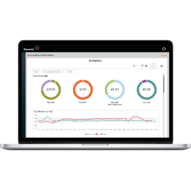 A laptop featuring Payworks Analytics Dashboard.