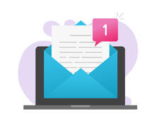 A drawing of a laptop with a large envelope on the screen. A paper document is popping out of the envelope with a notification that it's a new document.
