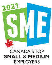 """Canada's Top Small & Medium Employers logo that says """"2021 SME"""" with a little maple leaf"""