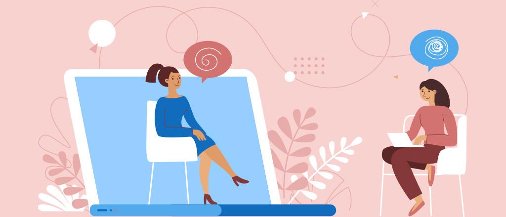 Illustration de deux femmes qui parlent. L'une d'elles se trouve devant l'illustration d'un ordinateur portable et l'autre est assise sur une chaise.