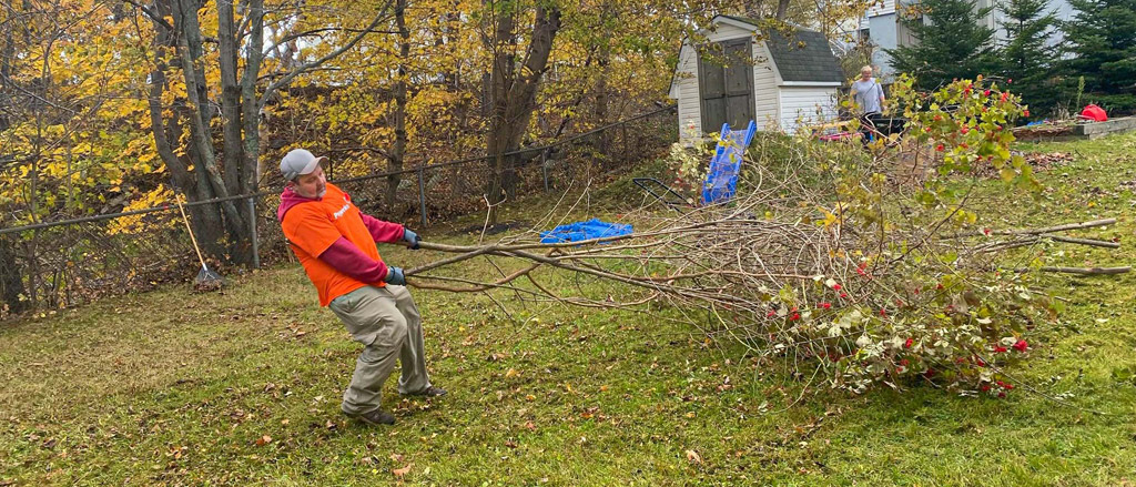 Sales Manager Craig Soontiens and Sales Consultant Stephen McKeller moving trees in the fall time.