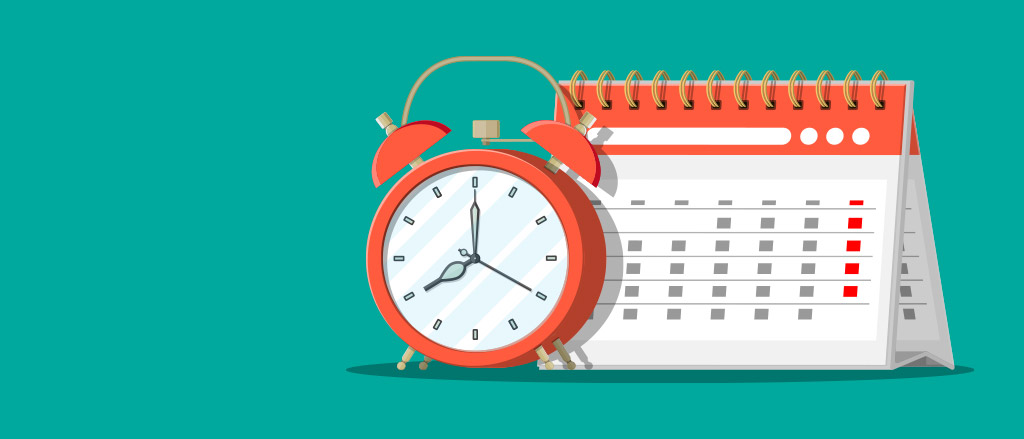 """An illustration of a paper tent desk calendar with an alarm clock beside it. Text reads """"Employee time options that operate where your staff are""""."""
