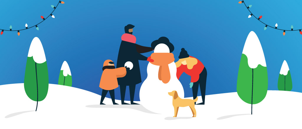 Payworks holiday card with a clear blue sky and a family of three building a snowman.