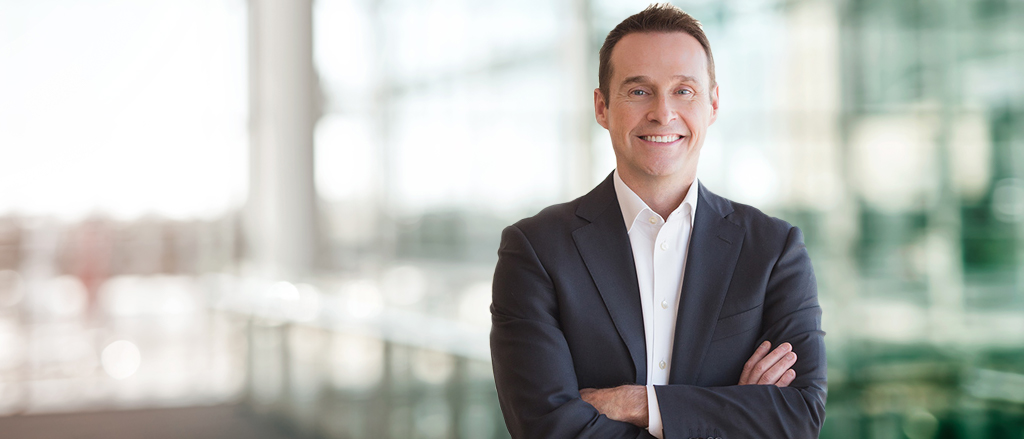 "Text reads, ""Inside scoop on open-door leadership from President & CEO JP Perron""."